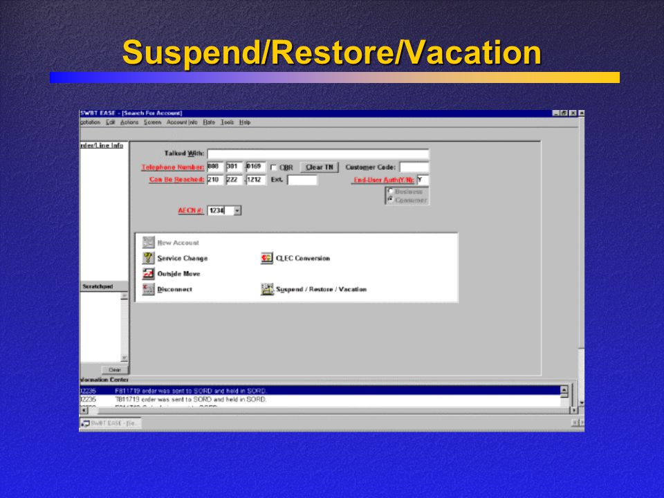 Suspend/Restore/Vacation