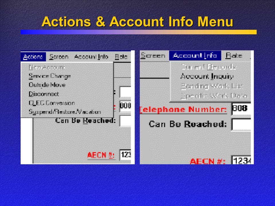 Actions & Account Info Menu