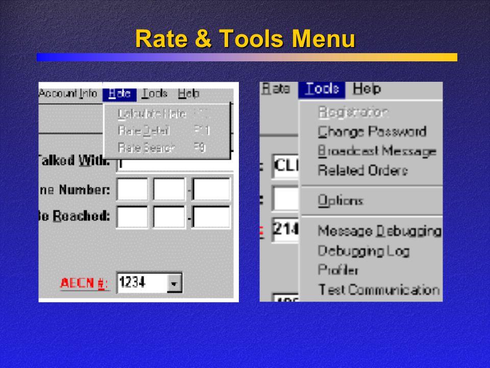Rate & Tools Menu