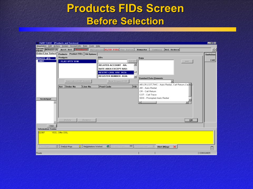 Products FIDs Screen Before Selection
