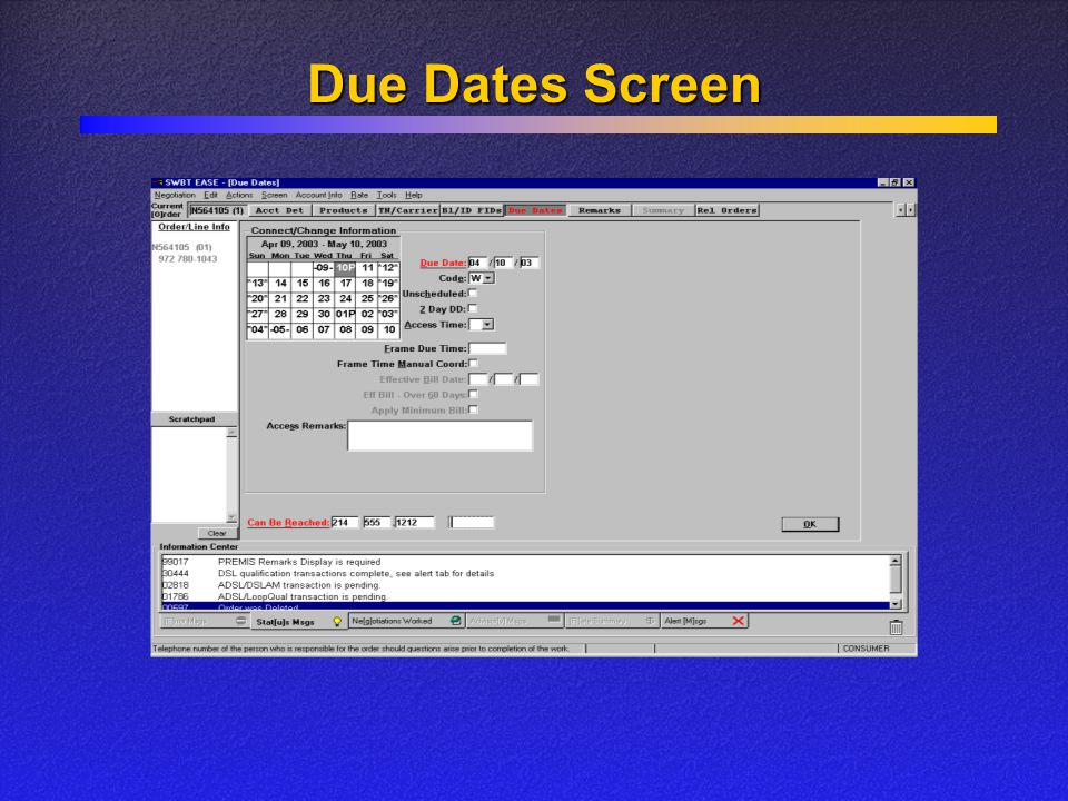 Due Dates Screen