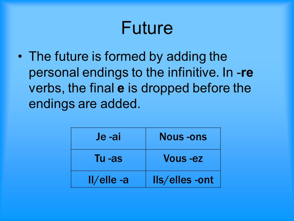 Future The future is formed by adding the personal endings to the infinitive. In -re verbs, the final e is dropped before the endings are added. Je -a