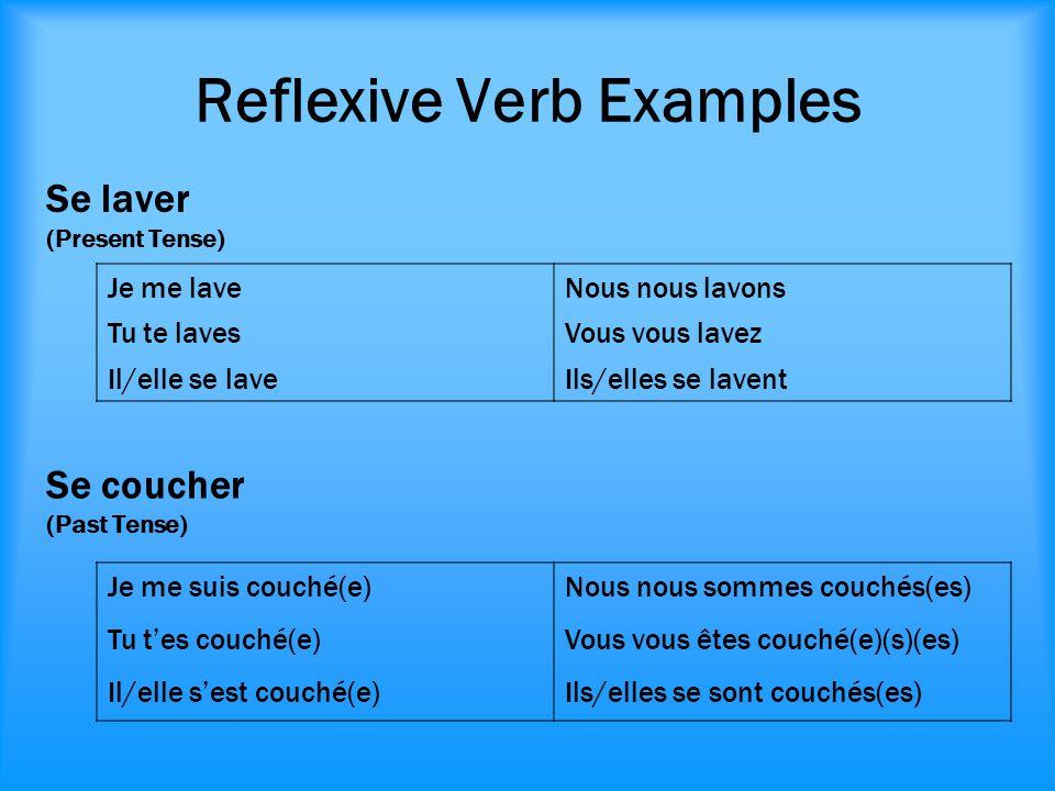 Reflexive Verb Examples Je me laveNous nous lavons Tu te lavesVous vous lavez Il/elle se laveIls/elles se lavent Se laver (Present Tense) Je me suis c