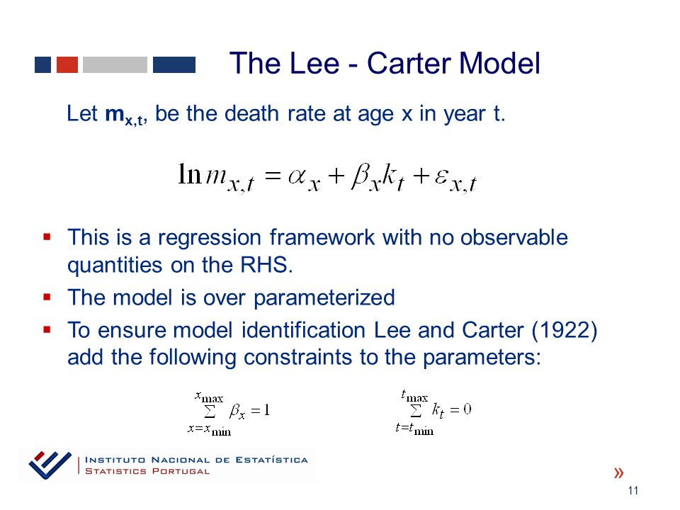 11 « Let m x,t, be the death rate at age x in year t.