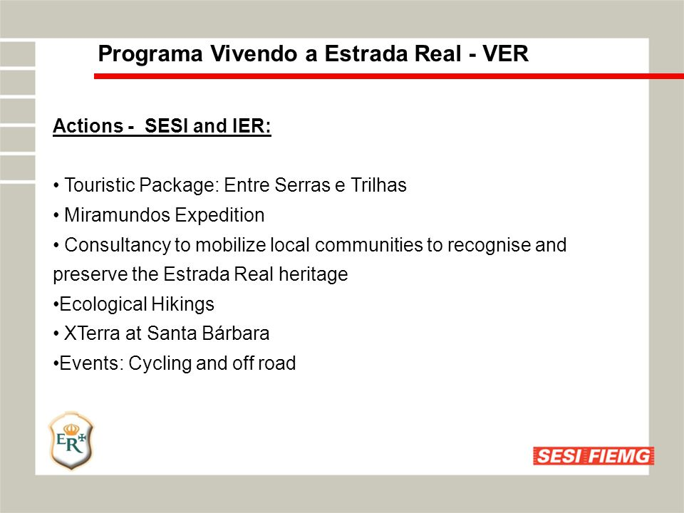 Programa Vivendo a Estrada Real - VER Actions - SESI and IER : Field Visit to Family Agriculture- Benchmarking.