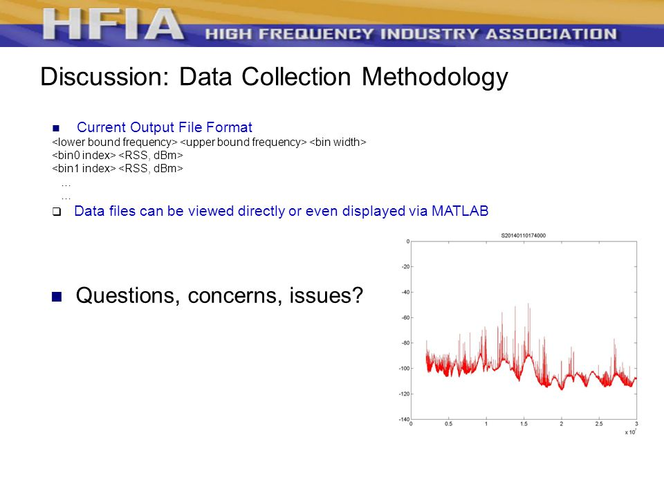 Discussion: Data Collection Methodology Current Output File Format …  Data files can be viewed directly or even displayed via MATLAB Questions, concerns, issues