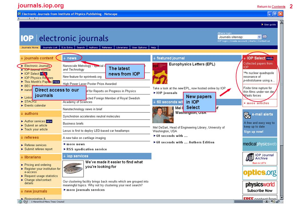 journals.iop.org 2 Return to ContentsContents Direct access to our journals The latest news from IOP New papers in IOP Select