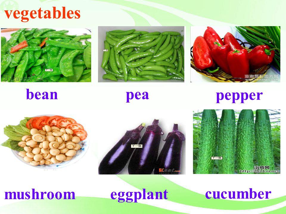 pea pepper bean cucumber eggplant vegetables mushroom