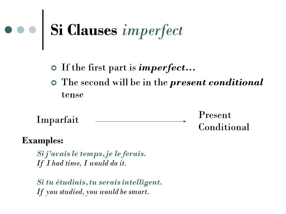 Si Clauses pluperfect If the first part is pluperfect… The second will be in the past conditional tense Pluperfect Past Conditional Examples: Si elle vous avait vu, elle vous aurait aidé.