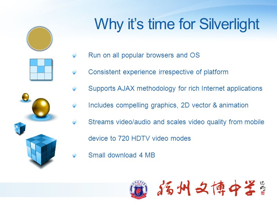 Why it's time for Silverlight Run on all popular browsers and OS Consistent experience irrespective of platform Supports AJAX methodology for rich Int
