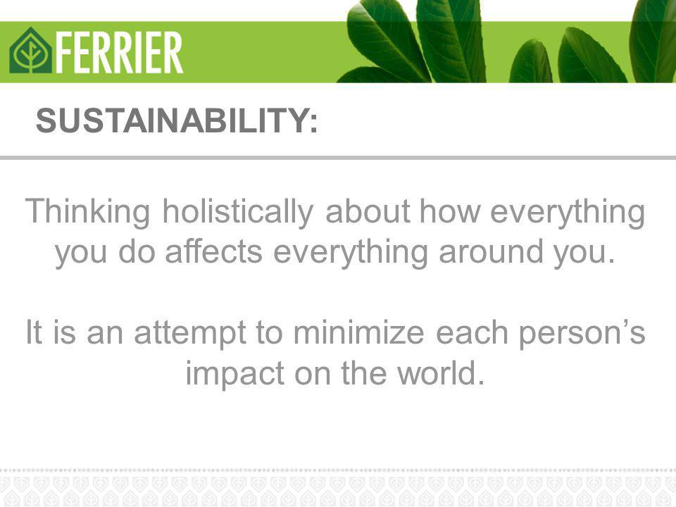 SUSTAINABILITY: Thinking holistically about how everything you do affects everything around you. It is an attempt to minimize each person's impact on