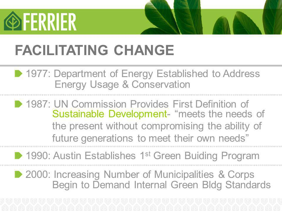 FACILITATING CHANGE 1977: Department of Energy Established to Address Energy Usage & Conservation 1987: UN Commission Provides First Definition of Sus
