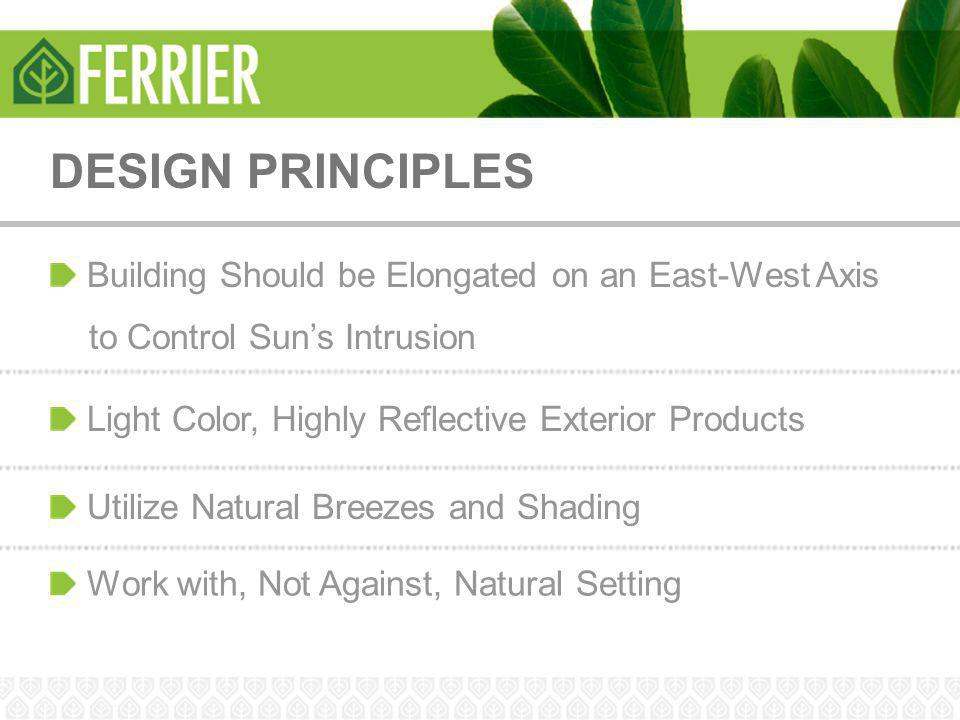 DESIGN PRINCIPLES Building Should be Elongated on an East-West Axis to Control Sun's Intrusion Utilize Natural Breezes and Shading Light Color, Highly