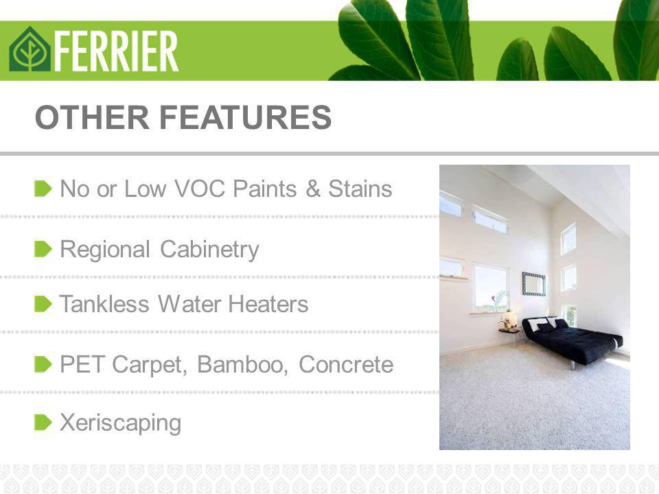OTHER FEATURES No or Low VOC Paints & Stains Tankless Water Heaters Regional Cabinetry PET Carpet, Bamboo, Concrete Xeriscaping