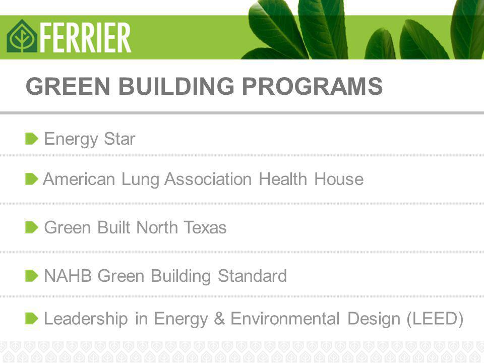 GREEN BUILDING PROGRAMS Energy Star American Lung Association Health House Green Built North Texas NAHB Green Building Standard Leadership in Energy &