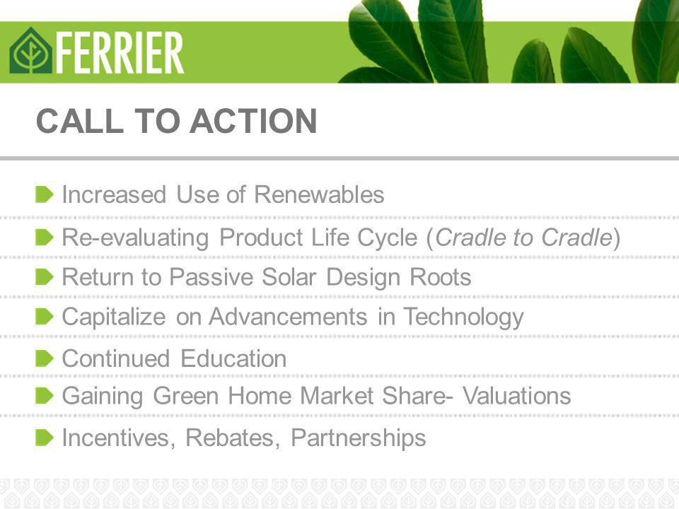 CALL TO ACTION Increased Use of Renewables Re-evaluating Product Life Cycle (Cradle to Cradle) Return to Passive Solar Design Roots Capitalize on Adva