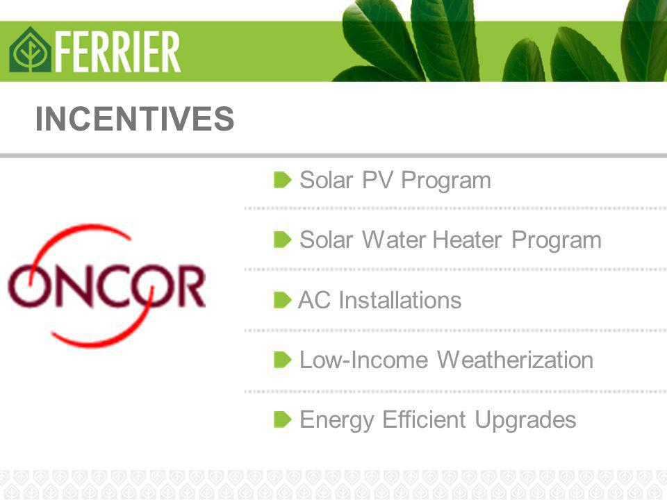 INCENTIVES Solar PV Program Solar Water Heater Program AC Installations Low-Income Weatherization Energy Efficient Upgrades
