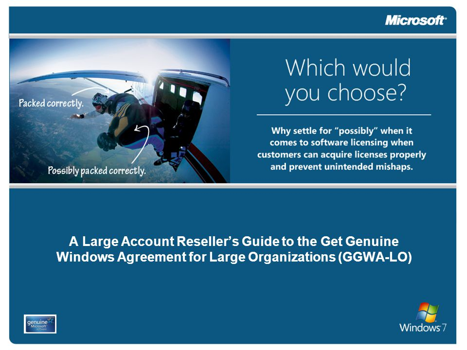 Introduction Our goal is to help you assist your customers who may have purchased a PC without genuine Microsoft ® Windows ® operating system software or discover they may have unlicensed Windows software.