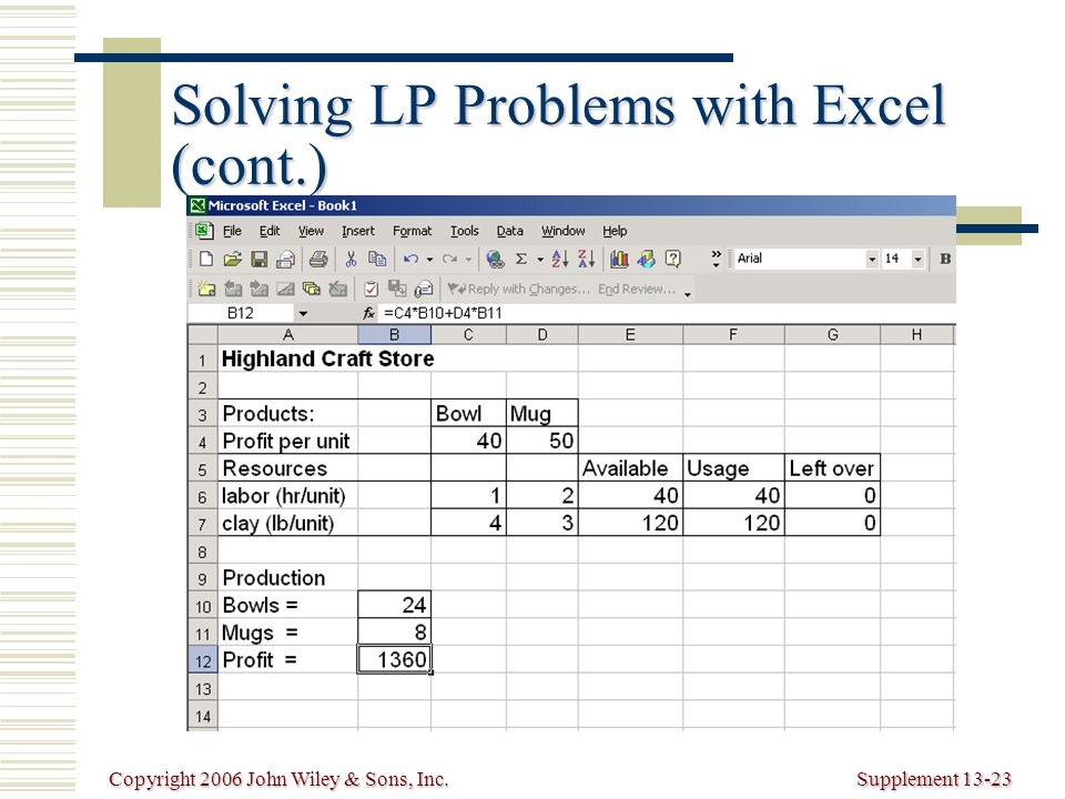 Copyright 2006 John Wiley & Sons, Inc.Supplement 13-23 Solving LP Problems with Excel (cont.)