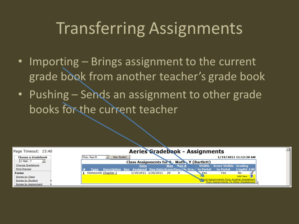 Transferring Assignments Importing – Brings assignment to the current grade book from another teacher's grade book Pushing – Sends an assignment to ot