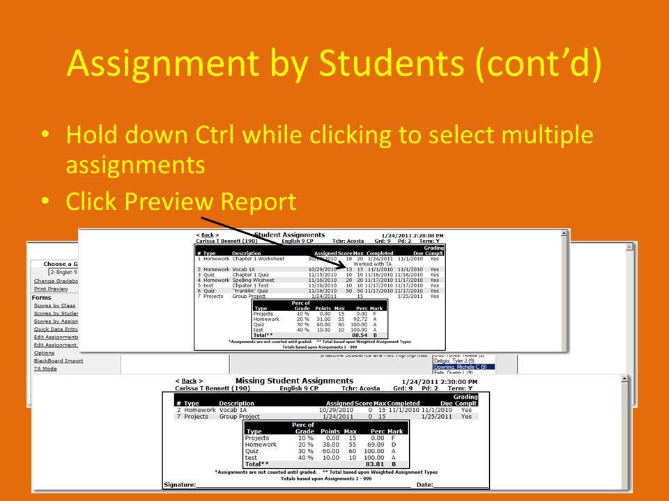Assignment by Students (cont'd) Hold down Ctrl while clicking to select multiple assignments Click Preview Report