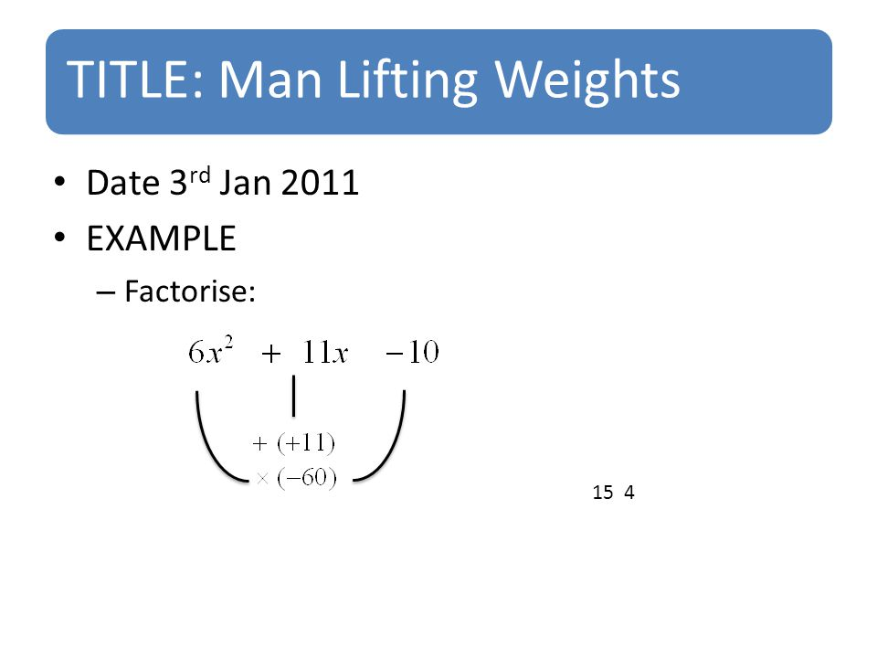 TITLE: Man Lifting Weights Date 3 rd Jan 2011 EXAMPLE – Factorise: 15 4