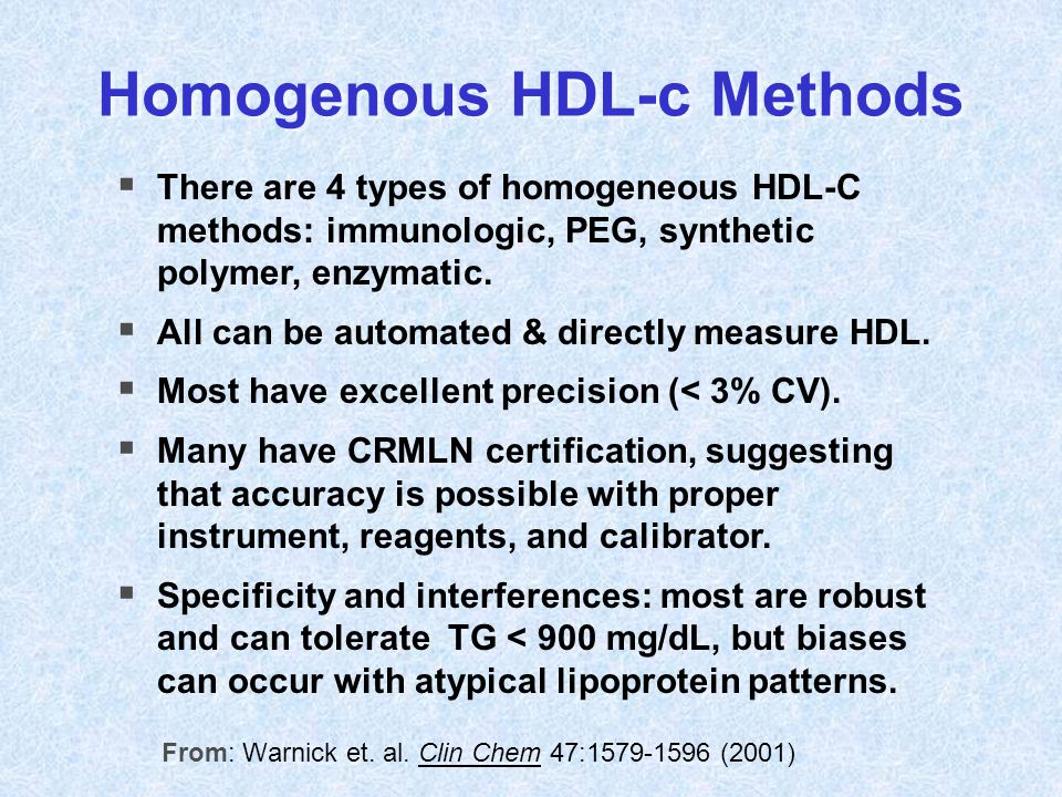 From: Warnick et. al. Clin Chem 47:1579-1596 (2001)  There are 4 types of homogeneous HDL-C methods: immunologic, PEG, synthetic polymer, enzymatic.
