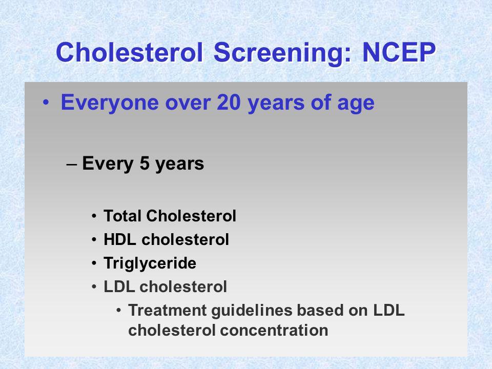 Cholesterol Screening: NCEP Everyone over 20 years of age –Every 5 years Total Cholesterol HDL cholesterol Triglyceride LDL cholesterol Treatment guid