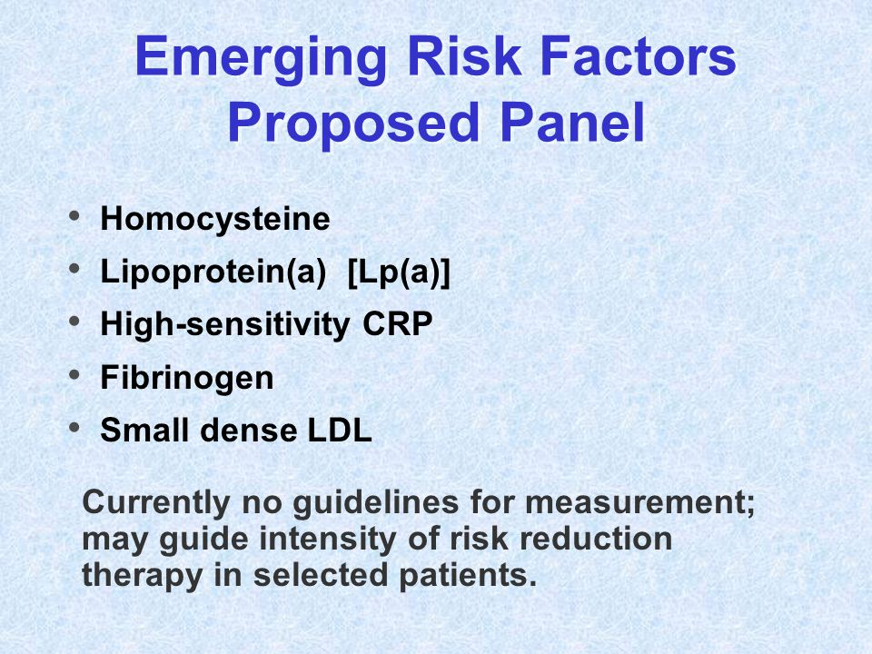 Emerging Risk Factors Proposed Panel Homocysteine Lipoprotein(a) [Lp(a)] High-sensitivity CRP Fibrinogen Small dense LDL Currently no guidelines for m