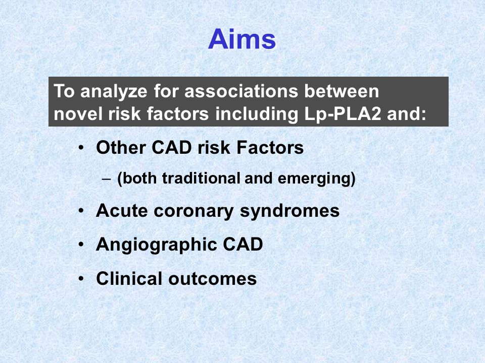 Aims Other CAD risk Factors –(both traditional and emerging) Acute coronary syndromes Angiographic CAD Clinical outcomes To analyze for associations b