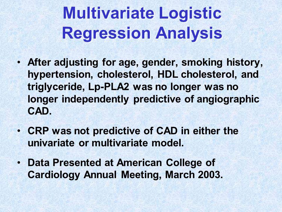 Multivariate Logistic Regression Analysis After adjusting for age, gender, smoking history, hypertension, cholesterol, HDL cholesterol, and triglyceri