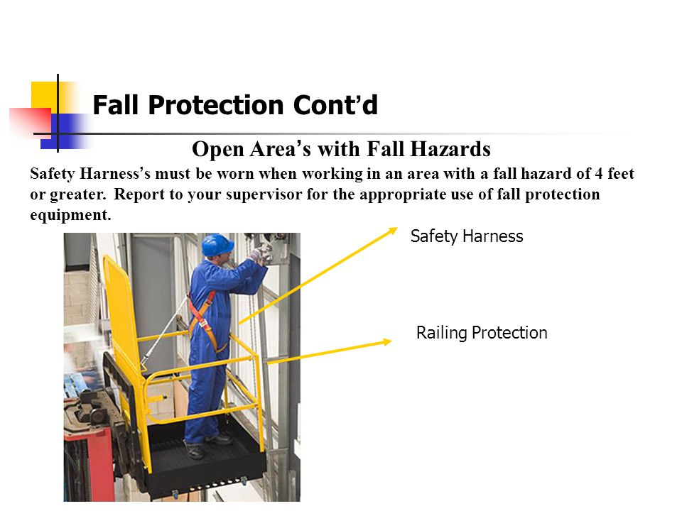 Fall Protection Cont'd Aerial Lifts  Articulating boom platforms Fall Protection required.  Extensible or telescoping boom platforms Fall Protection