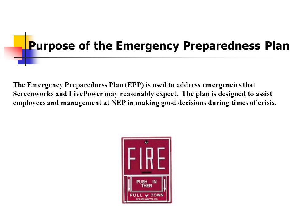 Emergency Preparedness Plan At Screenworks/Live Power