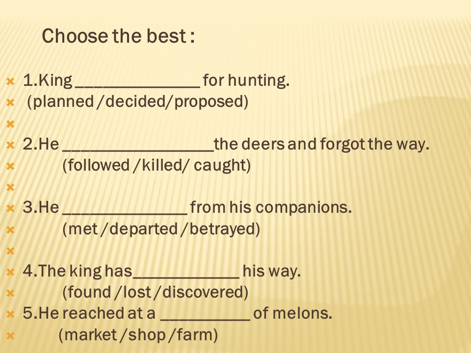 Choose the best :  1.King ______________ for hunting.
