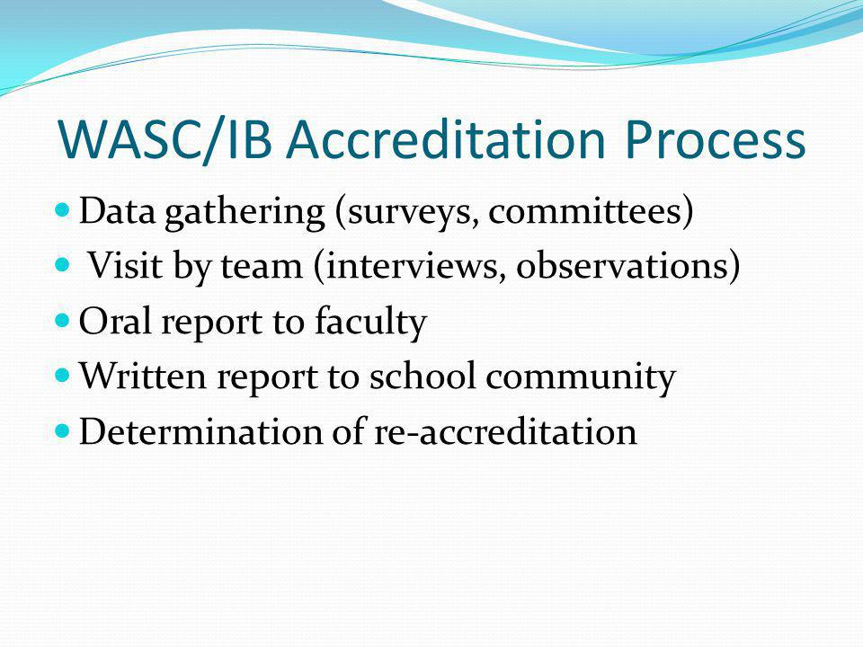 WASC/IB Accreditation Process Data gathering (surveys, committees) Visit by team (interviews, observations) Oral report to faculty Written report to school community Determination of re-accreditation