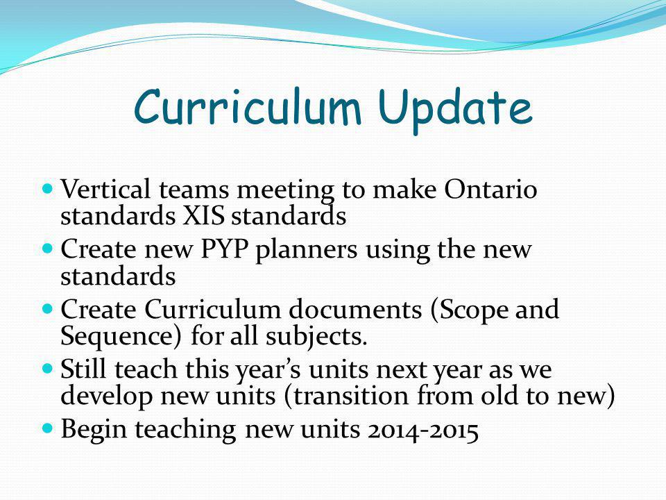New Report Card New curriculum, new standards, new report card needs to reflect new standards Research by Tom Gusky et al Committee established to review samples from other PYP schools Teacher input Parent input- Handout – discuss in groups.