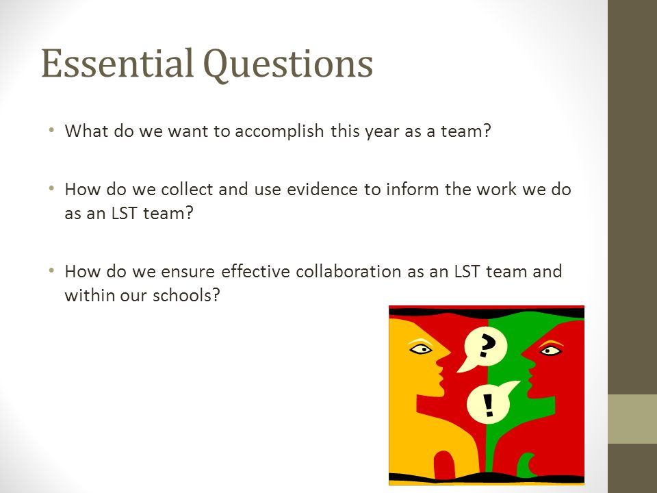 Essential Questions What do we want to accomplish this year as a team.