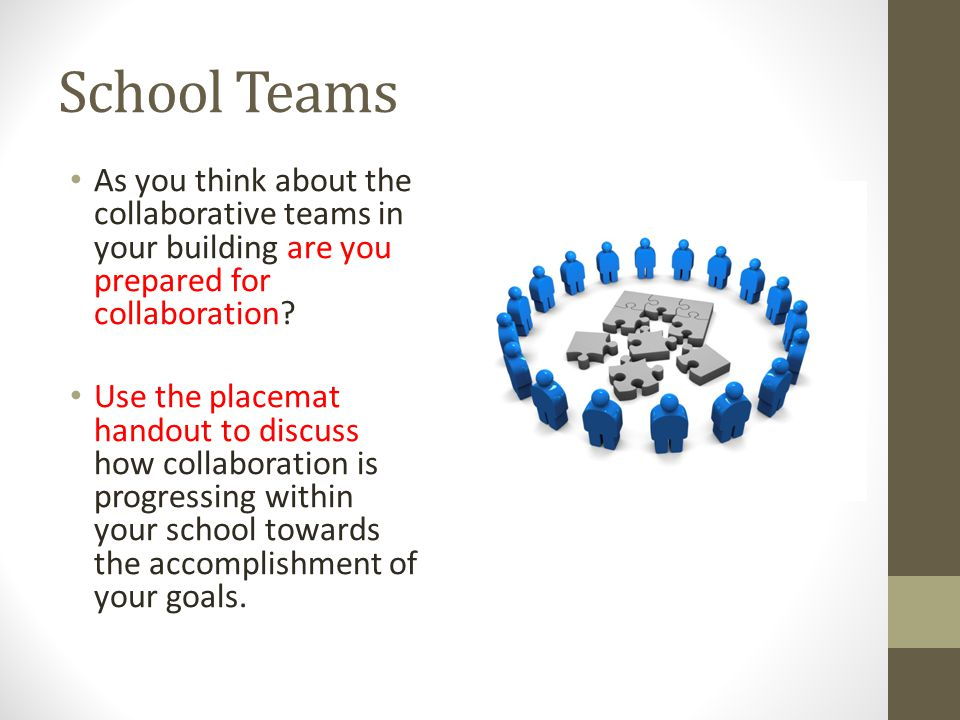 School Teams As you think about the collaborative teams in your building are you prepared for collaboration.