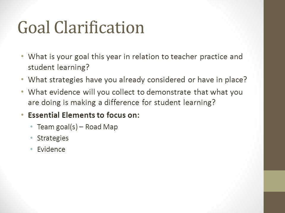 Goal Clarification What is your goal this year in relation to teacher practice and student learning.