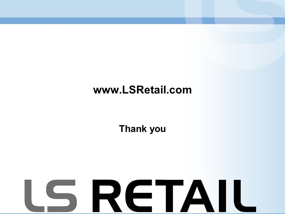 www.LSRetail.com Thank you