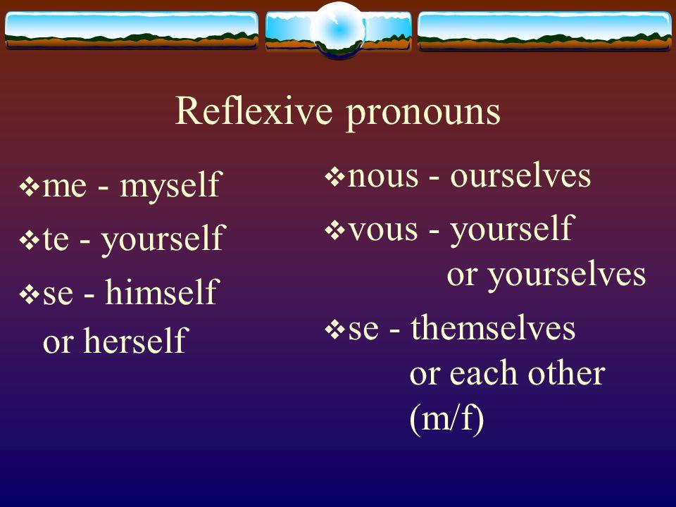 subject – reflexive pronoun - verb The reflexive pronouns usually precede the verb.