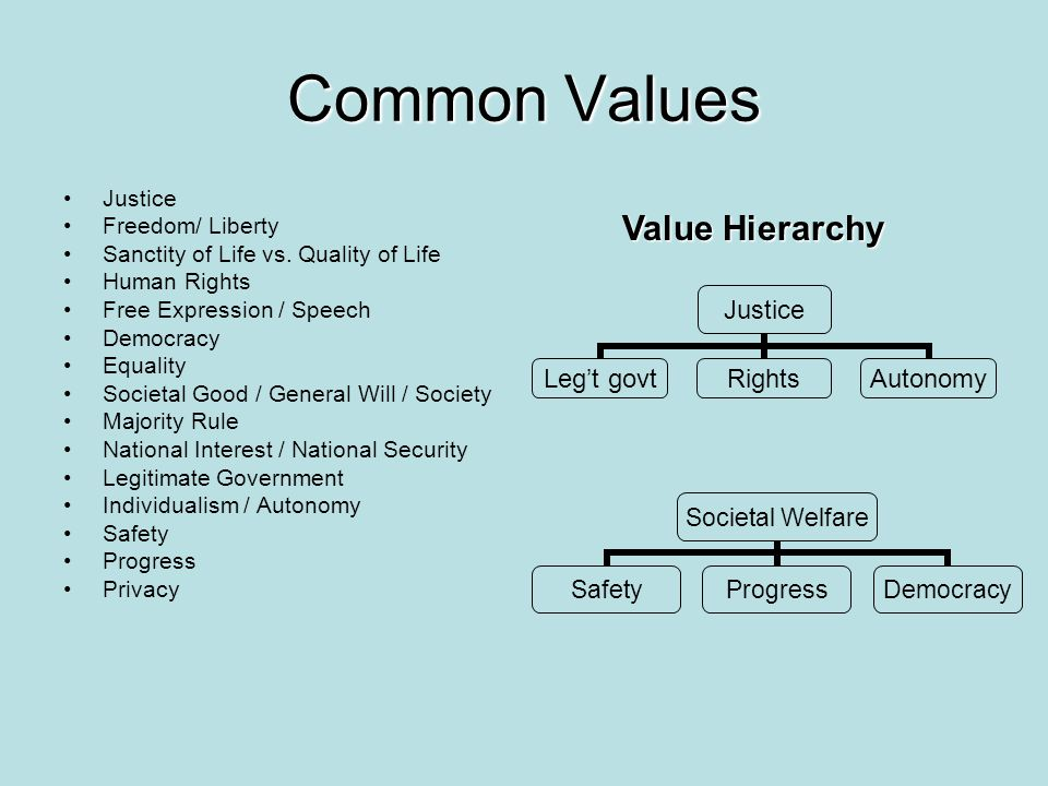 Common Values Justice Freedom/ Liberty Sanctity of Life vs. Quality of Life Human Rights Free Expression / Speech Democracy Equality Societal Good / G