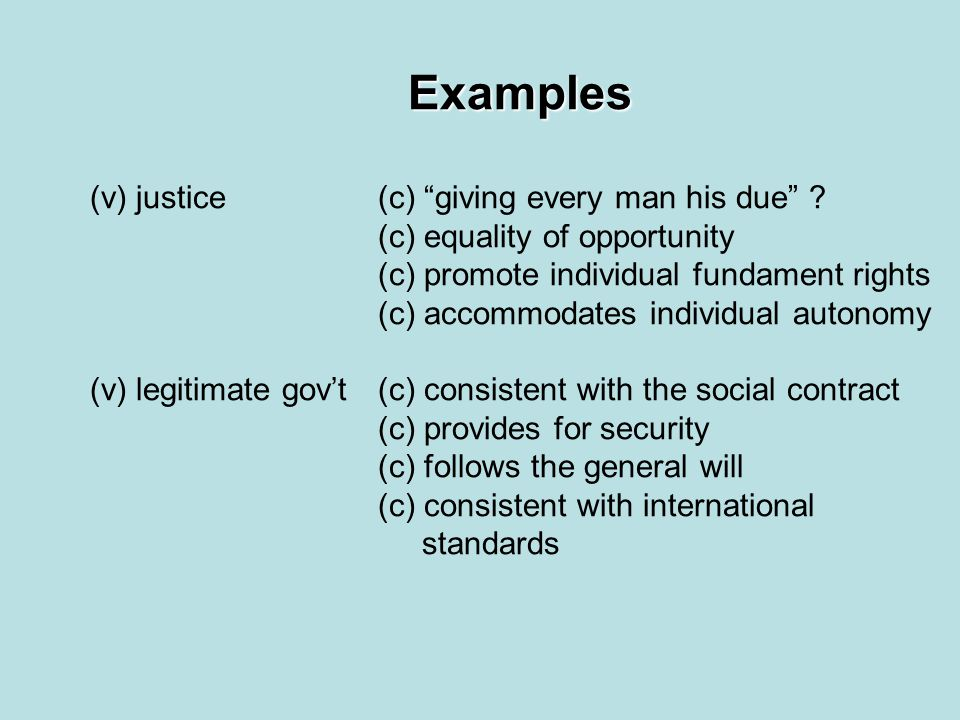 "Examples (v) justice(c) ""giving every man his due"" ? (c) equality of opportunity (c) promote individual fundament rights (c) accommodates individual a"