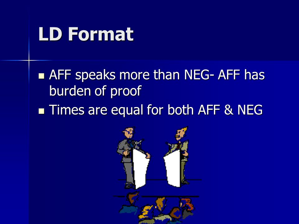 LD Format & time limits 6: AFF constructive 6: AFF constructive 3: NEG CX 3: NEG CX 7: NEG constructive 7: NEG constructive 3: AFF CX 3: AFF CX 4: AFF Rebuttal 4: AFF Rebuttal 6: NEG Rebuttal 6: NEG Rebuttal 3: AFF Rebuttal 3: AFF Rebuttal –Also: 4 minutes of prep.