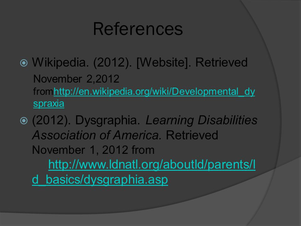 References  Wikipedia. (2012). [Website].