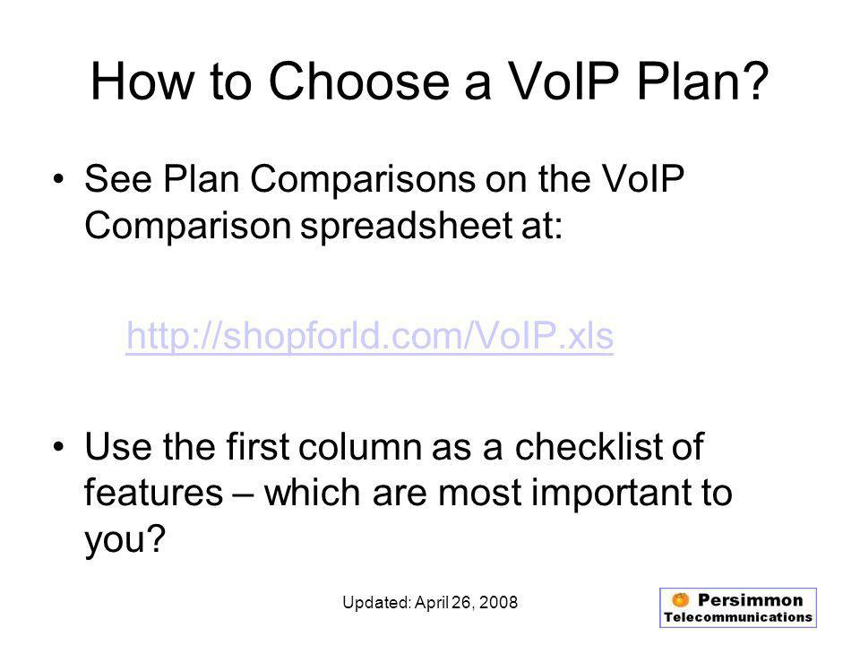 Updated: April 26, 2008 How to Choose a VoIP Plan.