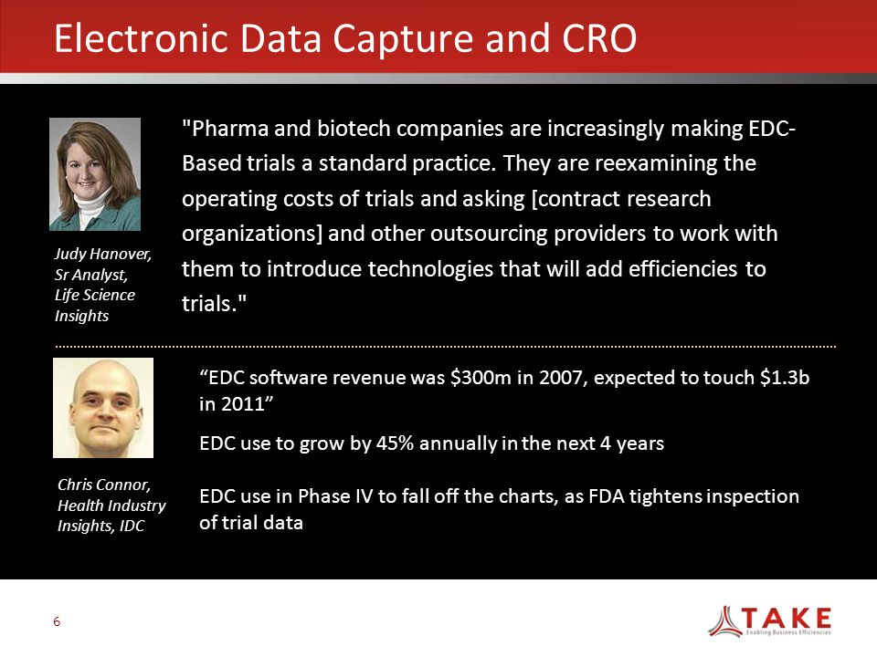 6 Electronic Data Capture and CRO Pharma and biotech companies are increasingly making EDC- Based trials a standard practice.