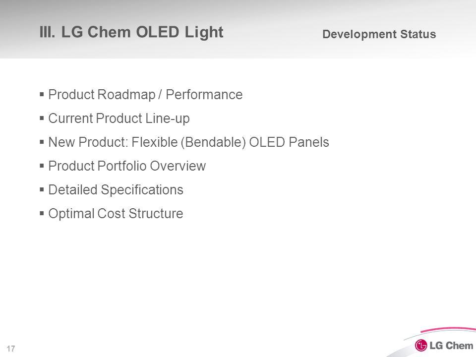 17 III. LG Chem OLED Light  Product Roadmap / Performance  Current Product Line-up  New Product: Flexible (Bendable) OLED Panels  Product Portfoli