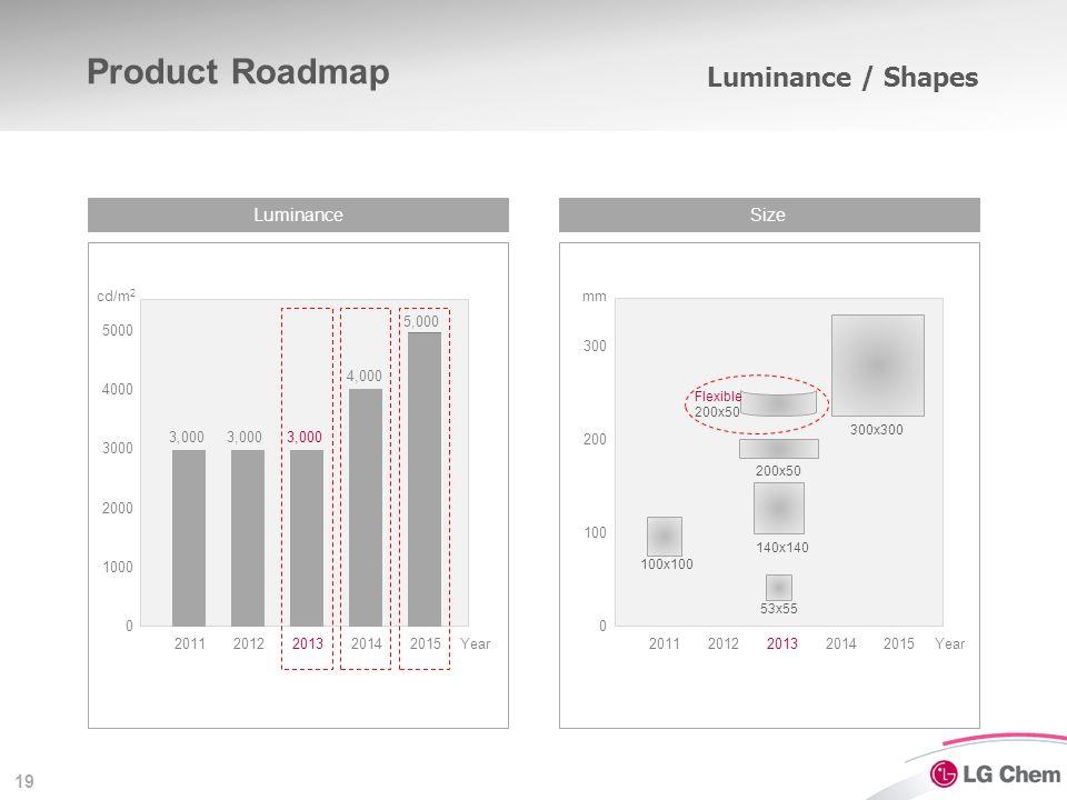 19 Luminance / Shapes LuminanceSize 20112012201320142015 2000 5000 0 3,000 4,000 5,000 cd/m 2 Year 1000 4000 3000 3,000 20112012201320142015 100 200 3