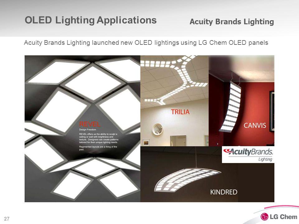 27 OLED Lighting Applications Acuity Brands Lighting Acuity Brands Lighting launched new OLED lightings using LG Chem OLED panels